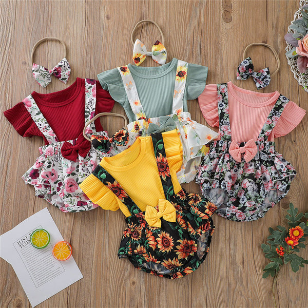 Baby Girls Short Sleeve Top & Overalls & Headband wholesale kids clothing