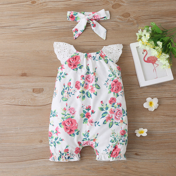 Baby Girls Sleeveless Flower Jumpsuit Baby Wholesale Clothing