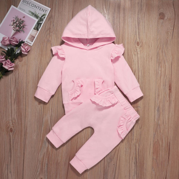 Baby Girls Solid Color Hooded Top & Pants Baby Clothing Wholesale