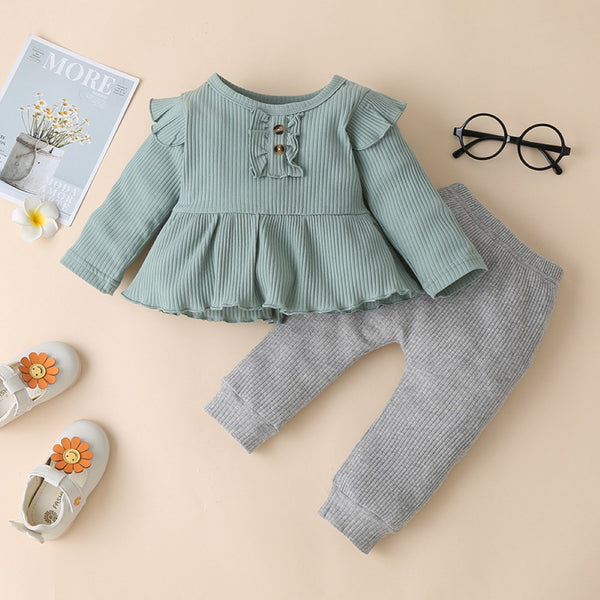 Baby Girls Solid Color Top & Pants Buy Baby Clothes Wholesale
