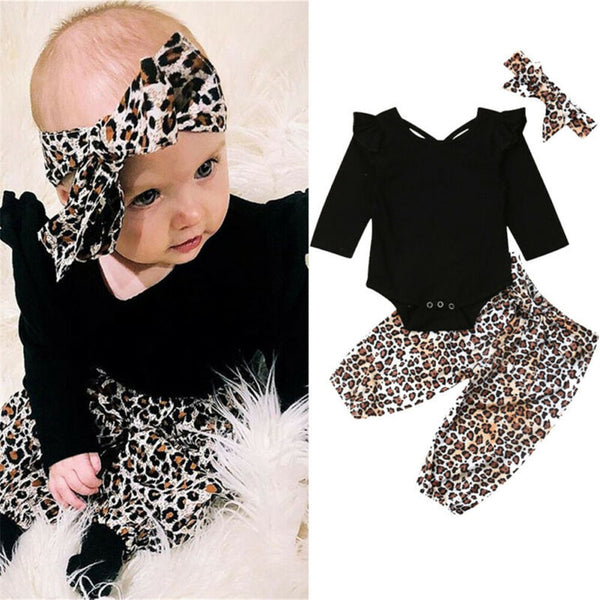 Baby Girls Solid Tops&Printed Leopard Pants&Headband Baby Romper Wholesale