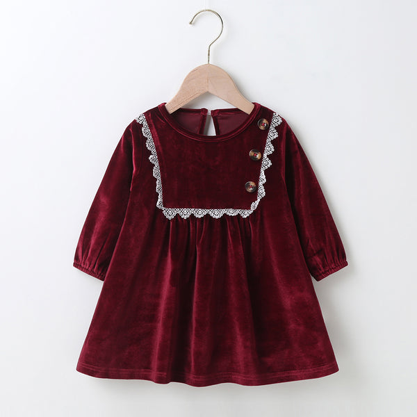 Baby Girls Vintage Long Sleeve A-Line Dress Baby Clothes Wholesale Supplier