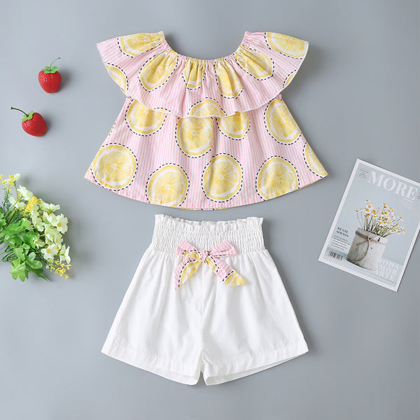 Baby Girls' Suit Summer New Pink Lemon Top + White Bow Shorts Two-Piece Suit Baby Wholesales