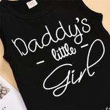 Baby Sleeveless Daddys Little Girl Top & Leopard Shorts & Headband Bulk Baby Clothes For Sale