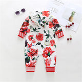 Baby Unisex Long Sleeve Hooded Floral Rompers Wholesale Baby Clothes In Bulk