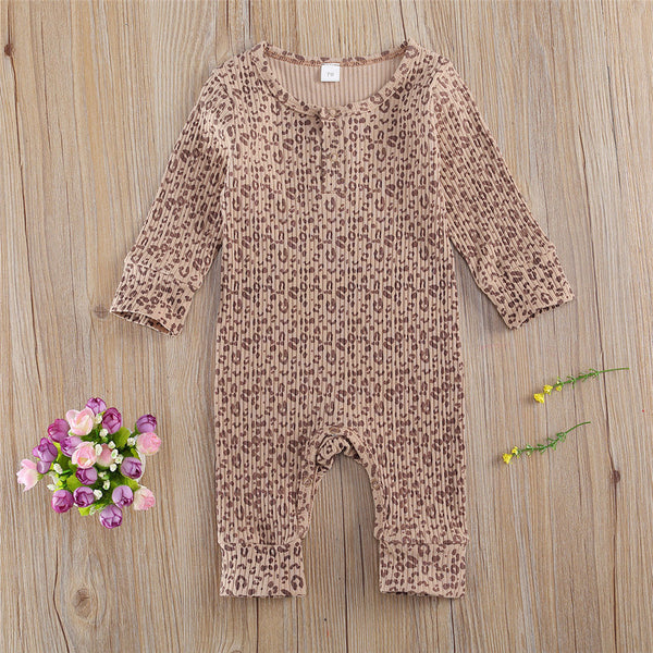 Baby Unisex Round Neck Printed Leopard Romper Baby Boutique Clothes Wholesale