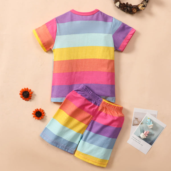 Baby Unisex Striped The Smile Cat Printed Shorts Sleeve Top Shorts Wholesale Baby Clothes In Bulk