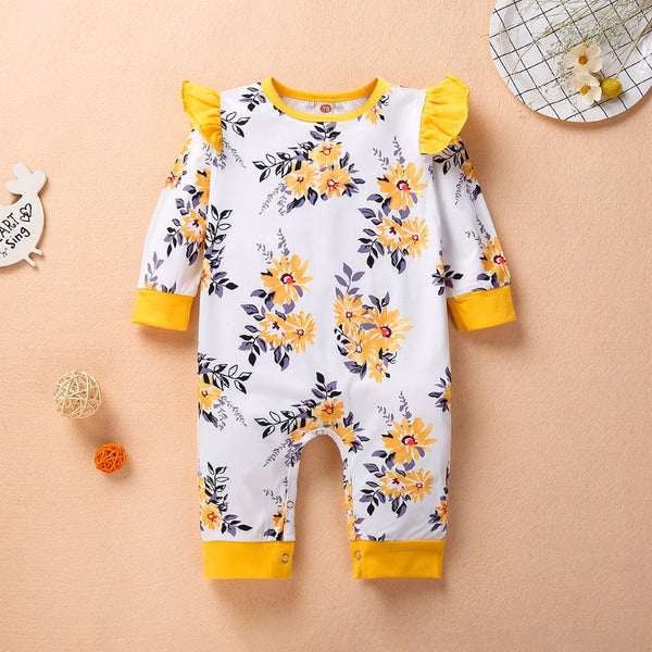 Babys Flower Printed Romper Wholesale Baby Clothes Usa