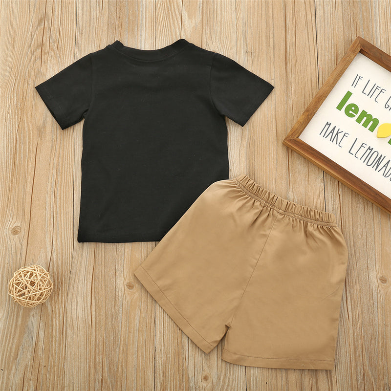 Boys Ball Printed Short Sleeve T-shirt & Solid Shorts Wholesale Boys Suits