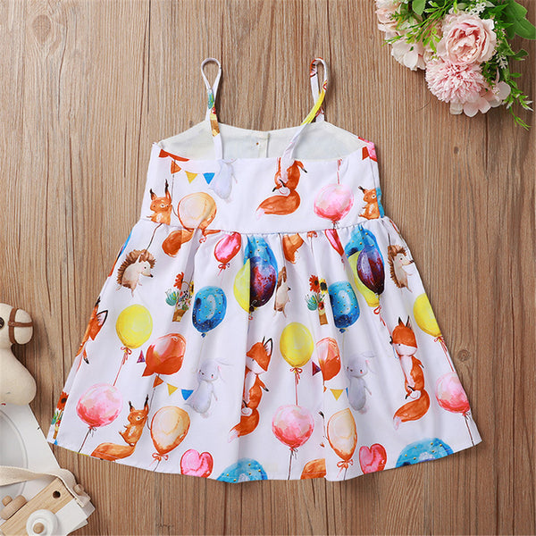 Girls Balloon Printed Suspender Dress Wholesale Baby Girl Clothes