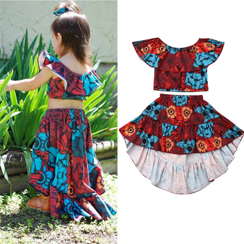 Toddler Girl's Ruffle One Word Collar Flower Swallow Tail Skirt