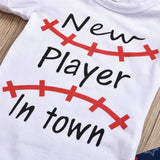 Baby Boys Baseball New Player In Town Printed Short Sleeve Romper & Pants & Hat Bulk Baby Clothes Online