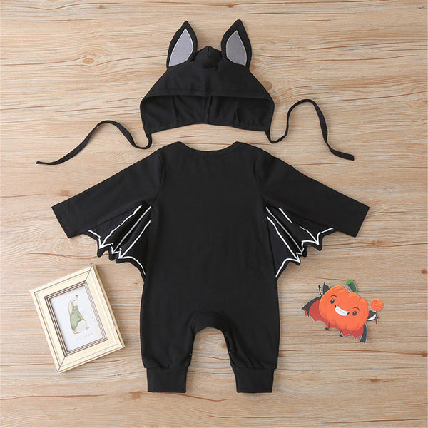 Baby Boys Bat Letter Pattern Pumpkin  Romper & Hat Baby Wholesale