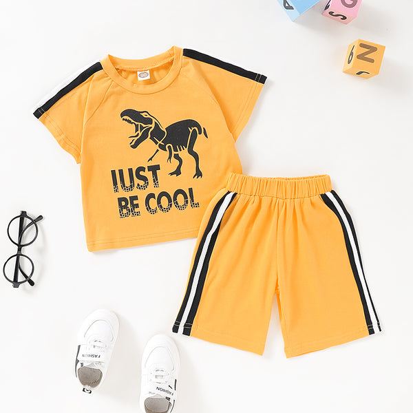 Boys Be Cool Dinosaur Printed Short Sleeve Top & Shorts Baby Boys Clothes Wholesale
