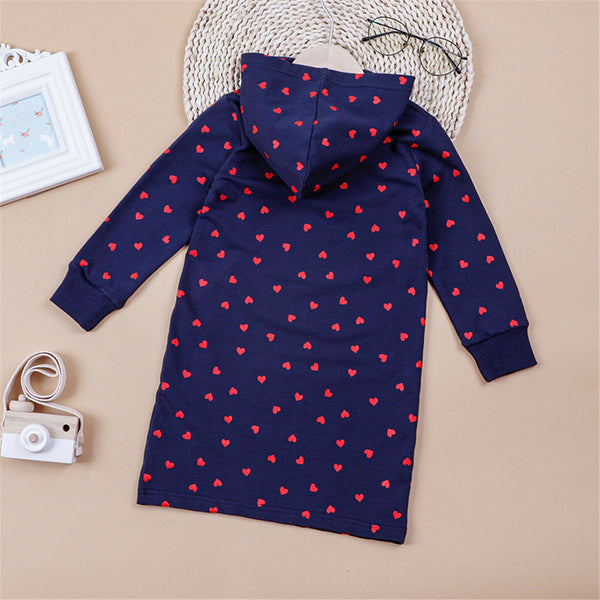 Girls Be Happy Every Day Heart Printed Hooded Long Sleeve Top Toddler Girls Wholesale