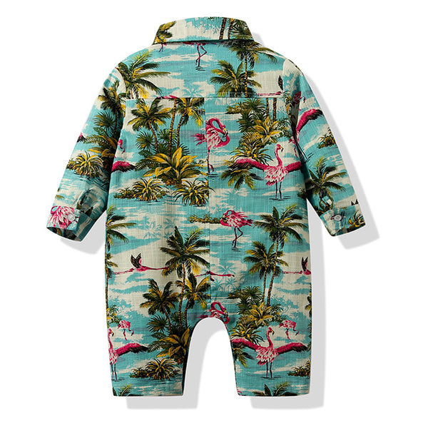 Baby Boys Beach Coconut Tree print Leisure Long Sleeve Romper Wholesale Baby Outfits