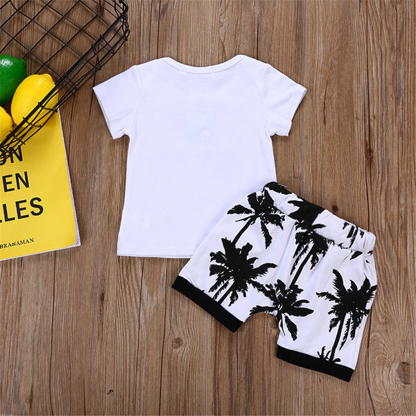 Baby Boys Beach Letter Printed Short Sleeve Top & Shorts Boy Wholesale Clothing