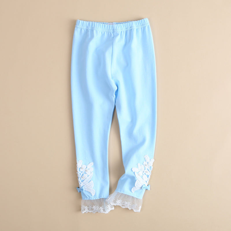 Girls Beaded Lace Elastic Waist Pants