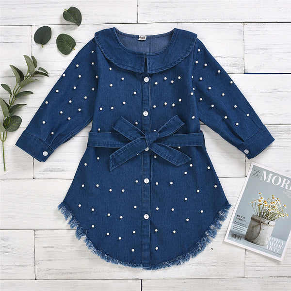Girls Beading Denim Long Sleeve Shirt Dress