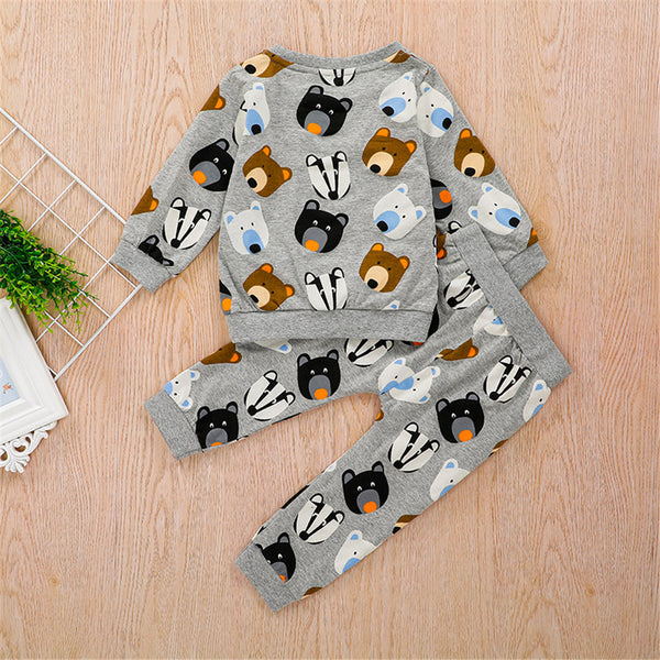 Boys Bear Cartoon Printed Long Sleeve Top & Pants Wholesale Boys Clothes