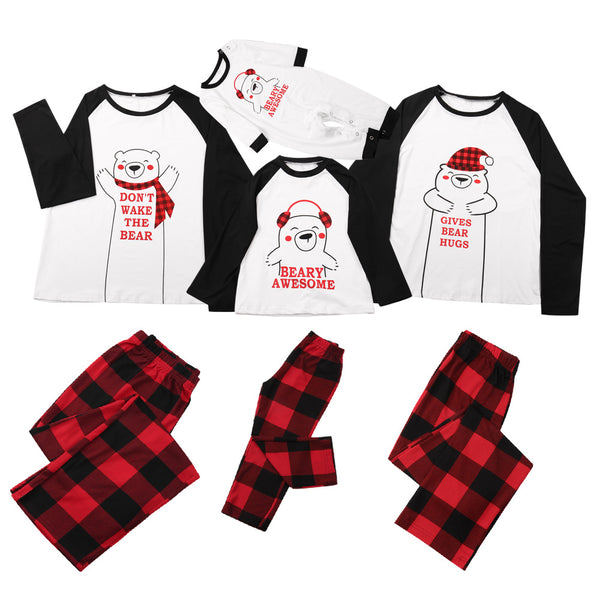 Parent-Child Bear Letter Printed T-shirt & Pants Mommy And Me Wholesale
