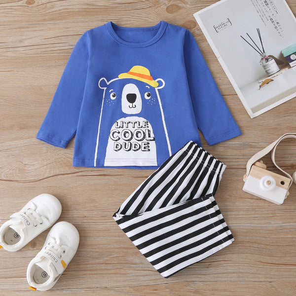 Baby Boys Bear Printed Long Sleeve Top & Striped Pants Baby Clothing Suppliers