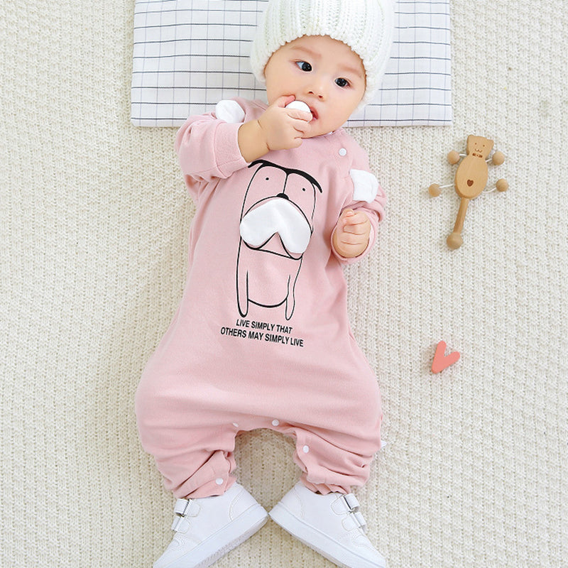 Baby Boys Beard Dog Letter Printed Long Sleeve Romper