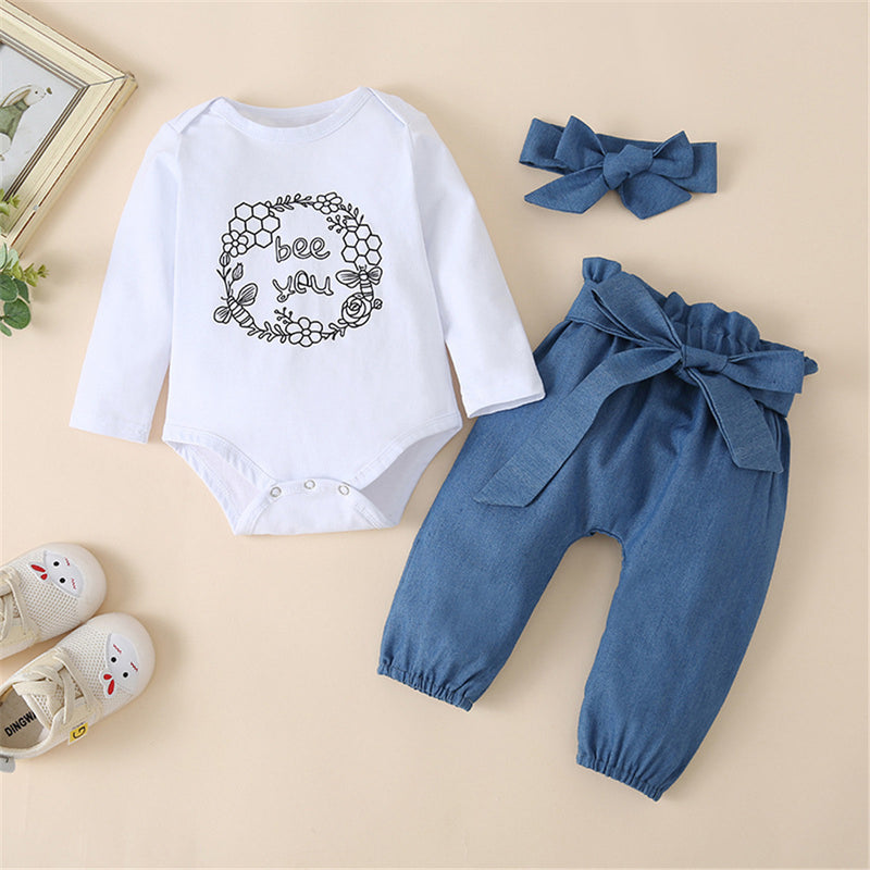 Baby Girls Bee You Long Sleeve Romper & Solid Pants & Headband Wholesale Baby Clothes In Bulk