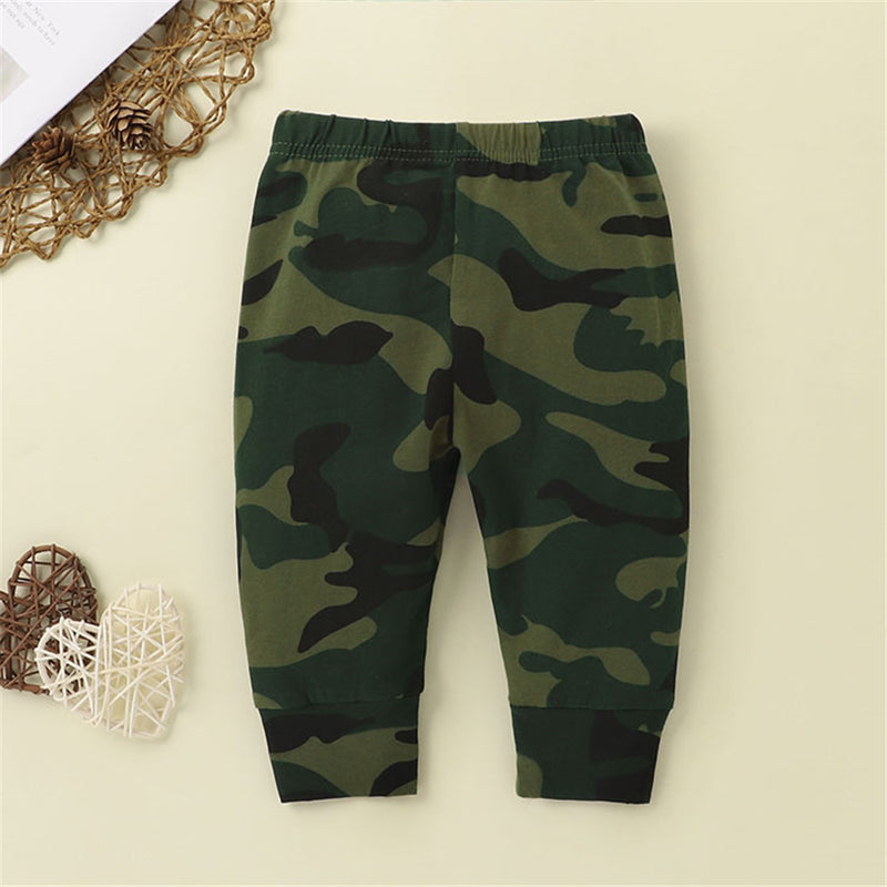 Boys Big Brother Printed Short Sleeve Top & Camouflage Pants Wholesale Boy Clothes