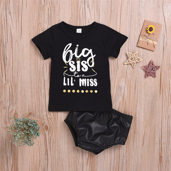 Girls Big Sister Printed Shorts Sleeve Tee &  PU Shorts Wholesale Little Girl Clothes