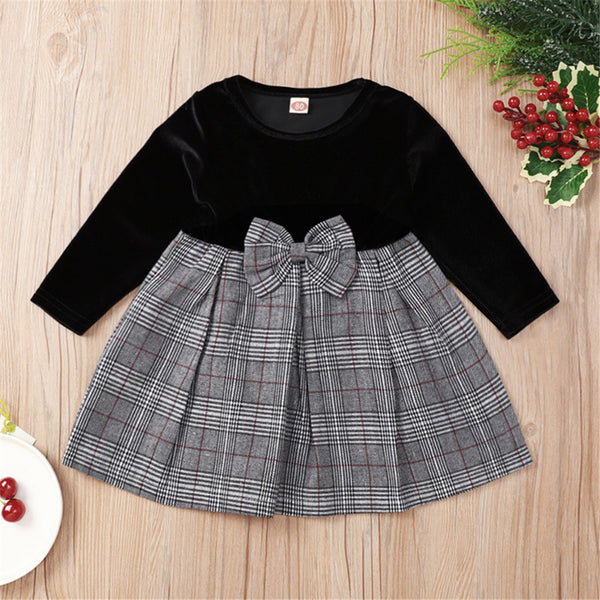 Baby Girls Black Plaid Long Sleeve Sweet Bow Dress  Wholesale Baby Outfits