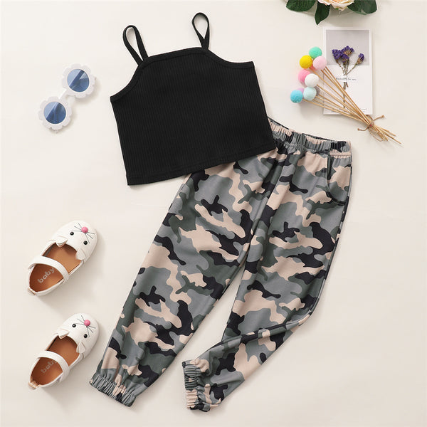 Girls Black Sling Top & Camo Pants kids clothes wholesale