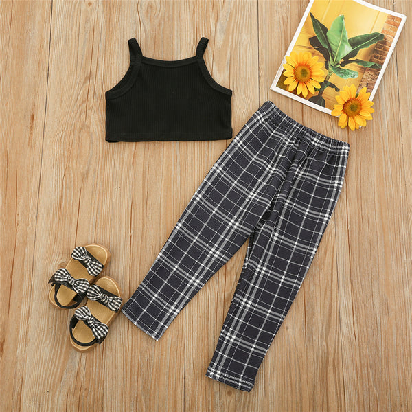 Girls Black Sling Top & Plaid Pants children wholesale clothing