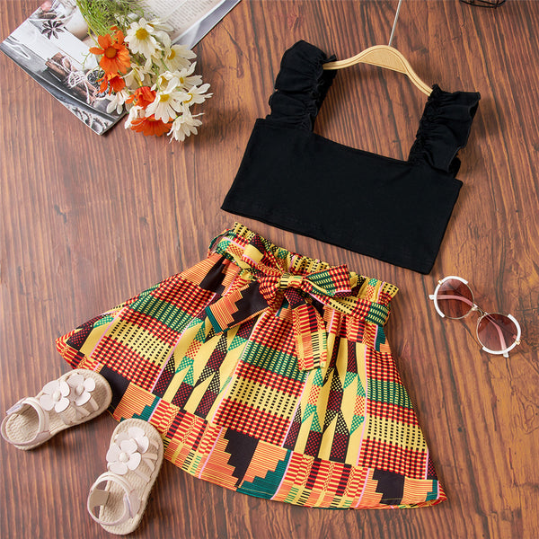 Girls Black Tank Top & Printed Skirt Boutique Kids Clothes Wholesale