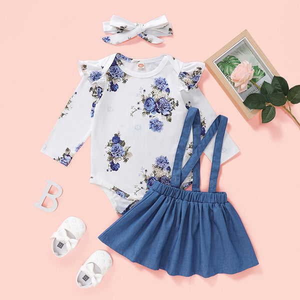 Baby Girls Blue Floral Printed Long-Sleeve Romper & Suspender Skirt Baby Clothes Vendors