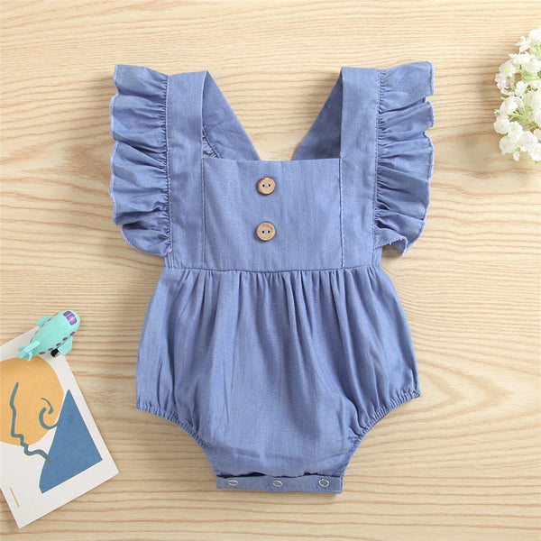 Baby Girls Blue Flying Sleeve Romper wholesale baby clothes usa