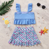 Girls Blue Flying Sleeve Top & Fish Scale Shorts Toddler 2 Piece Swimsuit