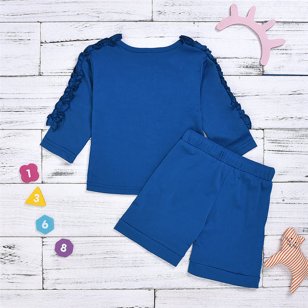 Girls Blue Waveselvedge Long Sleeve Top & Skirt Girls Clothes Wholesale