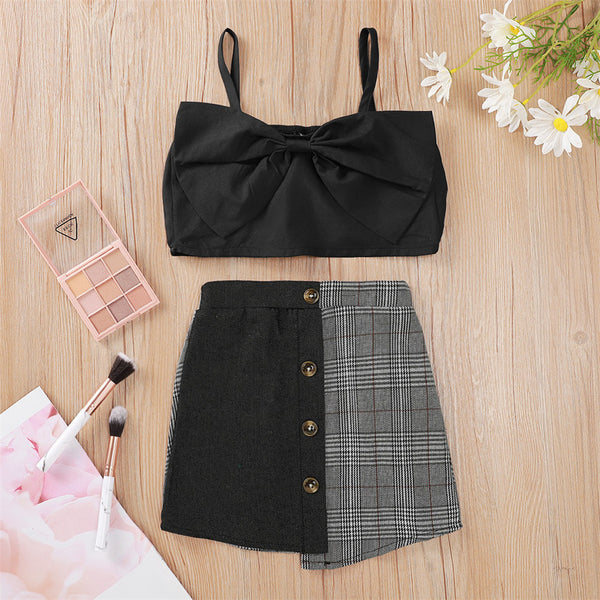 Girls Bow Black Sling Top & Plaid Splicing Skirt wholesale kids boutique clothing