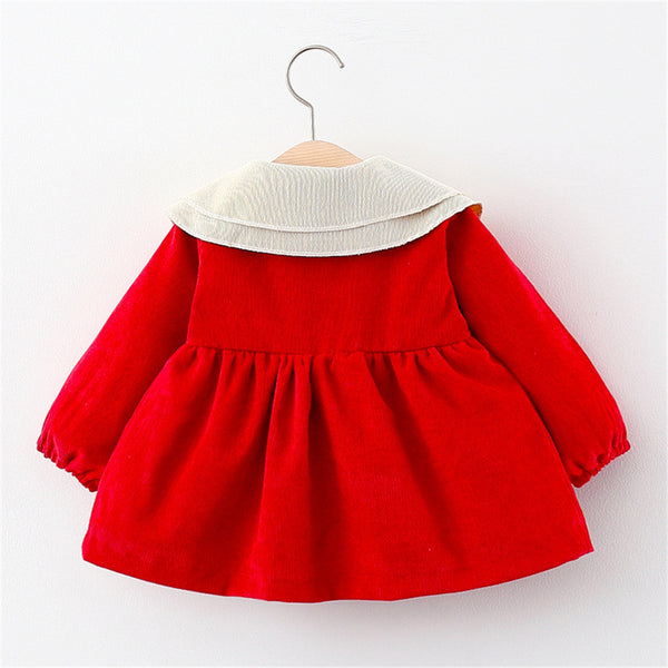 Girls Bow Button Long Sleeve Sweet Dress Wholesale Girl Clothing