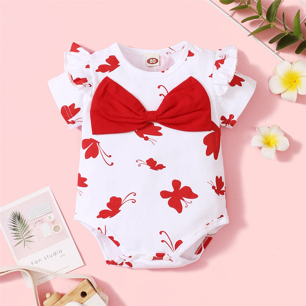 Baby Girls Bow Decor Butterfly Printed Short Sleeve Sweet Romper Wholesale Baby Clothes