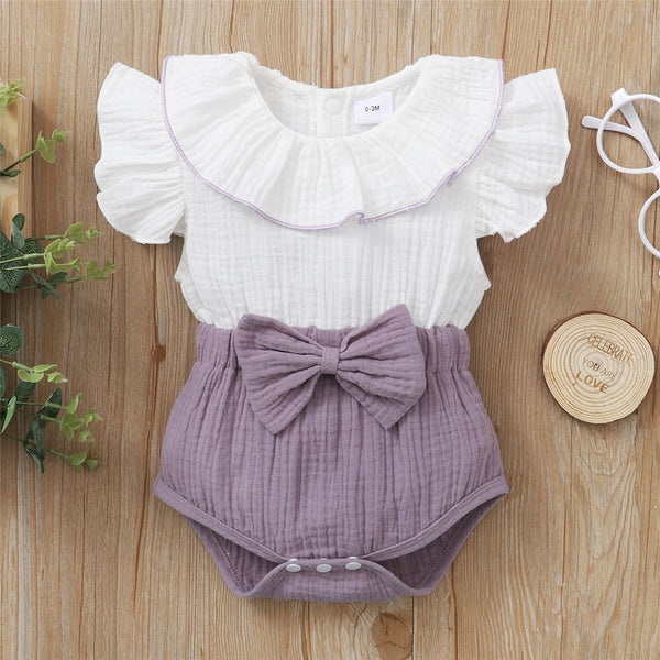 Baby Girls Bow Decor Color Block Flutter Sleeve Romper Baby Clothing In Bulk