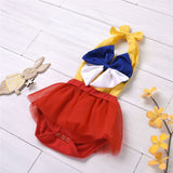 Baby Girls Bow Decor Color Contrast Tulle Romper Wholesale Designer Baby Clothes