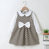 Girls Bow Decor Doll Collar Polka Dot Long Sleeve Dress Wholesale Girl Boutique Clothing
