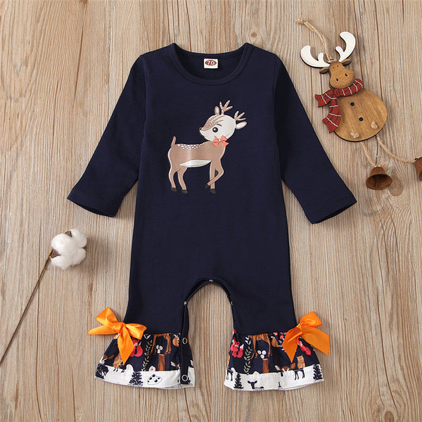 Baby Girls Bow Decor Elk Printed Long Sleeve Romper Christmas Baby Clothes