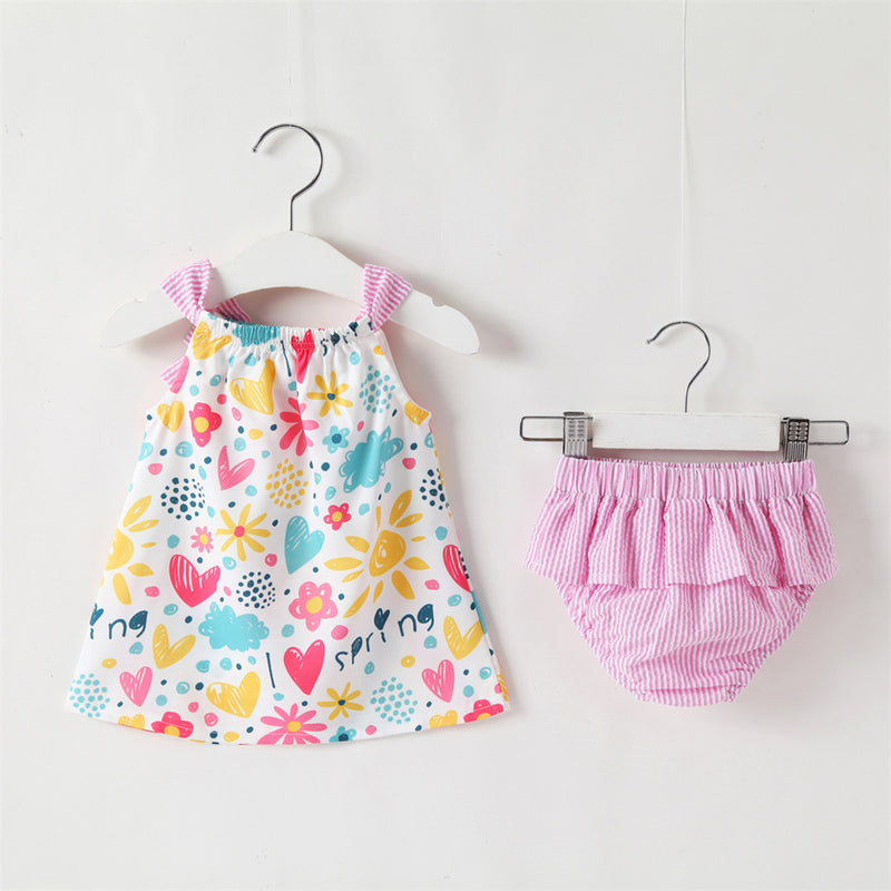 Baby Girls Bow Decor Floral Printed Spring Sleeveless Top & Shorts Wholesale Clothing Baby