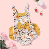 Baby Girls Bow Decor Floral Printed Suspender Romper Baby Clothes Wholesale Bulk