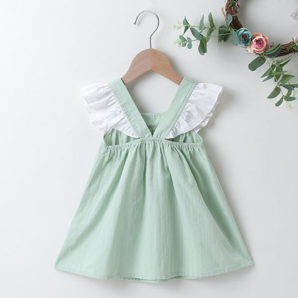 Baby Girls Bow Decor Flying Sleeve Color Contrast  Dress Baby Summer Clothes