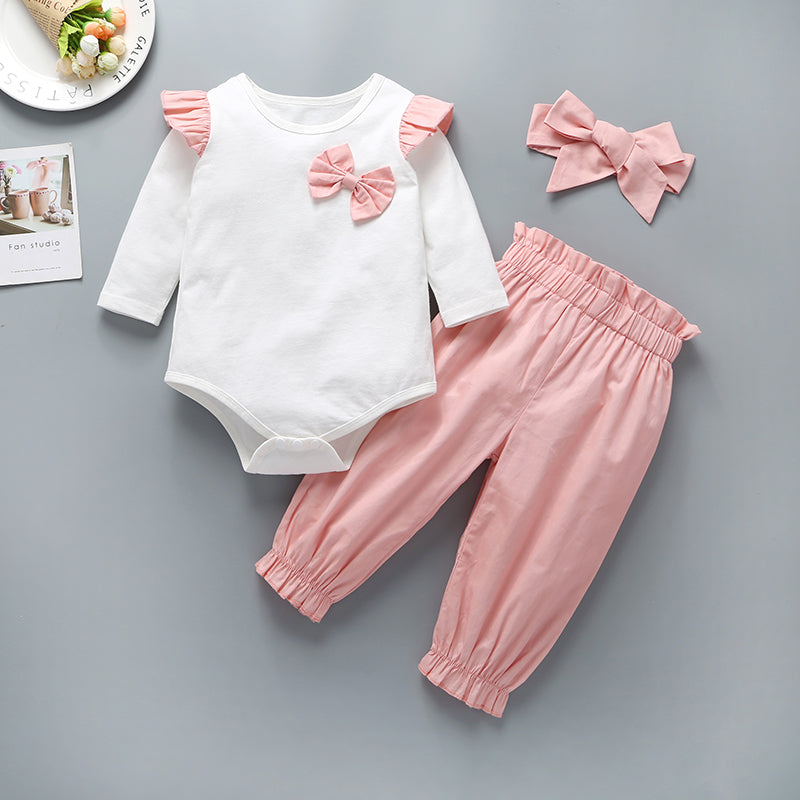 Baby Girls Bow Decor Frill Trim Long Sleeve Bodysuit & Pants & Headband