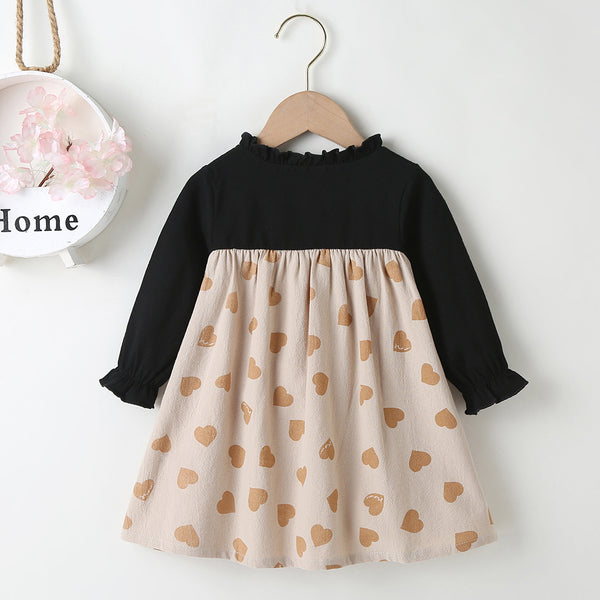 Baby Girls Bow Decor Heart Printed Long Sleeve Lovely Dress Baby Clothing Cheap Wholesale